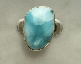 Larimar Silver Ring, Larimar Caribbean Aqua Blue Cabochon Sterling Silver Ring, Pectolite #7