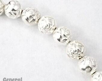 9mm Bright Silver Rose Bead #MPB016
