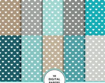 Hearts digital paper, masculine hearts digital scrapbook paper, heart pattern, hearts background, hearts printable , teal, grey, brown, blue