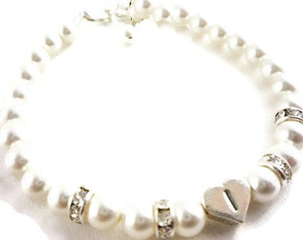 Personalized Flower Girl Bracelet with White Swarovski Pearls, Sterling silver Heart Initial Beads and Crystal Rhinestone Flower Girl Gift