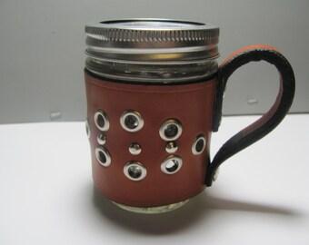 mason drinking jar, leather sleeves, mason jars leather cozies, mason jar cozies, mason jar sleeves. tan leather covered mason jar