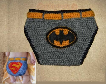 Baby Batman and Superman Diaper Cover, Photp Prop - INSTANT DOWNLOAD Crochet Pattern