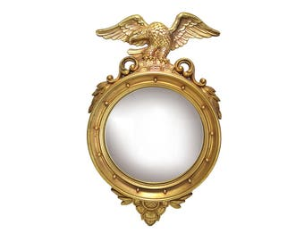 Vintage Mid Century Gold Eagle Porthole Mirror - Nautical Decor - Ship Porthole Wall Mirror Maritime Federal Colonial - Syroco Foyer Mirror
