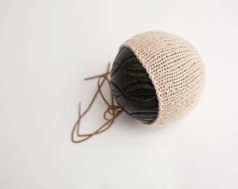 RTS - Dark Cream Knit Bonnet with Suede Ties