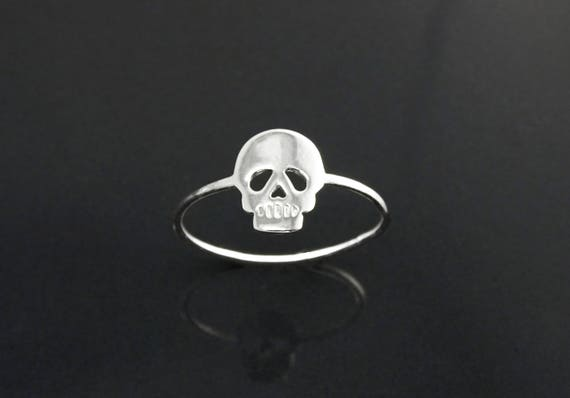 Flat Skull Ring, Sterling Silver, Small Engraved Skull Head, Pirate Jewelry, Dainty Stackable Ring, Gothic Ring, Biker Ring,Rock'n Roll Ring