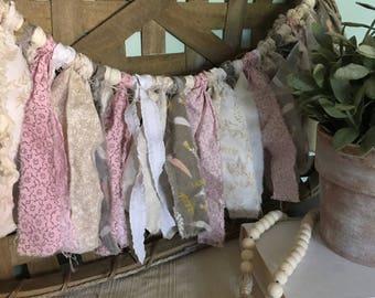 Shabby Nursery Decor, Fabric Garland, Banner, Farmhouse Decor, Shabby Chic