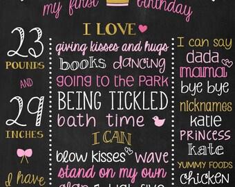 Birthday Poster - 1st Birthday Chalkboard Sign - Gold Birthday Board - Gold and Pink Girl Birthday - Princess