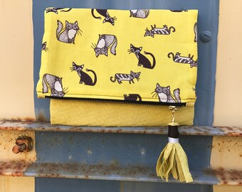 Small Fold Over Clutch - Yellow Cat - STUDIO SAMPLE