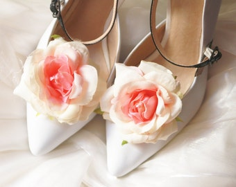 Floral Shoe Clips - Flowers Clips Bridal Wedding Shoes Clips Engagement Party Bride Bridesmaid - Peach Pink Cream