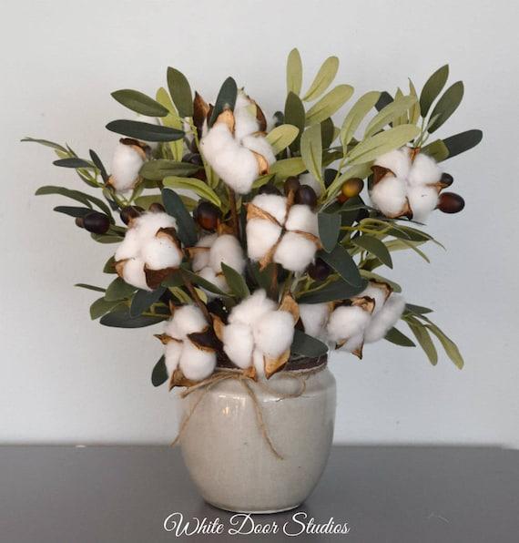 Farmhouse Cotton Stem Arrangement with Olive Branches