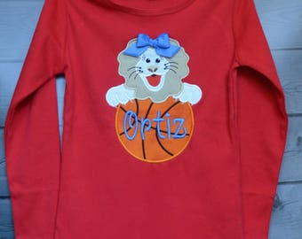 Personalized Team Name & Baby Bulldog with Basketball Applique Shirt or Bodysuit