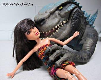 Godzilla meets Liv, Toy Photography, Fashion Doll Photography, Liv Doll Photos, Greeting Card, Godzilla Puppet, Still Life Photography,
