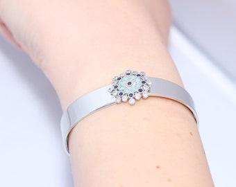 Silver bracelet, Bridal bracelet, Cuff bracelet, Crystal Wedding bracelet, Flower bracelet, CZ bracelet, Bridesmaid bracelet,