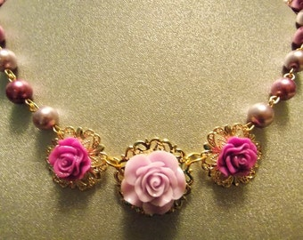 Gold and Purple Glass Pearl Necklace