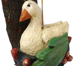 House of Hatten 12 days of Christmas collectible ornament by Denise Calla, 6 Geese laying , Folk Art Ornament, 1989,