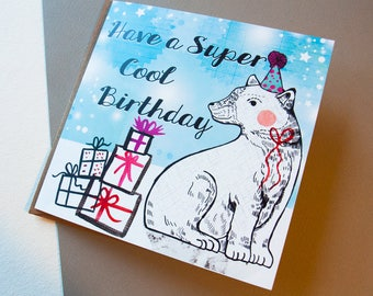 Have a Super Cool Birthday Greeting Card - Birthday Card - Blank - Stationery - Illustrated Paper Good - Unique - Original