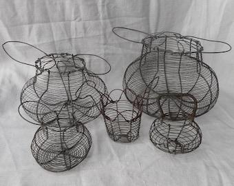 Set of 5 Vintage Egg Baskets