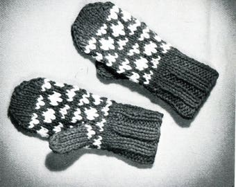 1960's Child Mittens Knitting Pattern Instant Download PDF