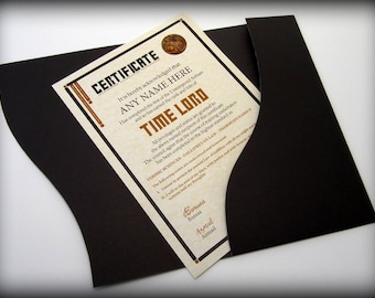 Doctor Who Time Lord Certificate in a Luxury Presentation Folder - Personalised with the name of your choice
