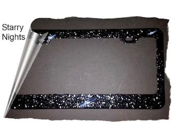 2018 TOP SELLER FAVORITE Starry Nights black sparkly glitter bling metal License Plate Frame