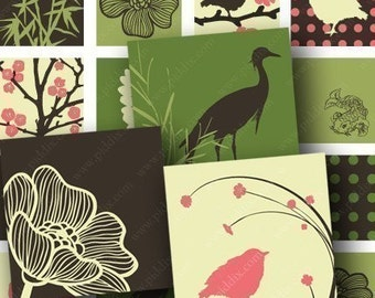 Spring Zen Birds and Bamboo Digital Collage Sheet in 1 Inch Squares Pink Green Brown Nature Koi Fish Storks Japanese Modern piddix 668