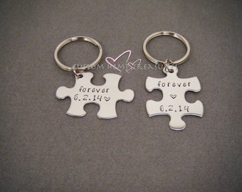 Unique Wedding Gift, fiance gift, Forever keychains, Wedding Date Gift, Custom Gift, Puzzle Piece Keychain Set, engagement Gift