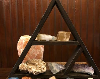 Wonderful Crystal Triangular Display Shelf || Wicca || Witchcraft || Chakras || Pagan || Magic || Spirit || Handmade