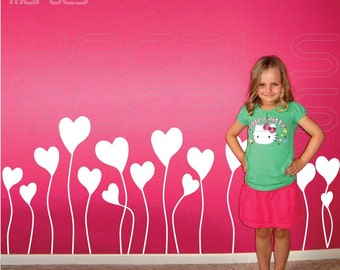Wall decals GROWING HEARTS Surface graphics nursery & kids interior decor by Decals Murals (28 tall)