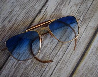 Vintage Mens 1950s Retro sunglasses with blue tint
