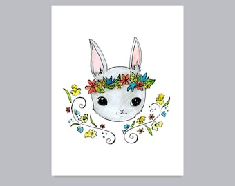 Woodland Rabbit with Floral Crown Print