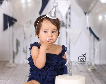 Birthday Party Hat || 1st Bday Hat  || Girl Birthday Party Hat || Silver Party Prop || Little Blue Olive