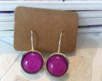 Bright pink  glass cabochon earrings | gunmetal dangle earrings | Made in the UK | ready to ship