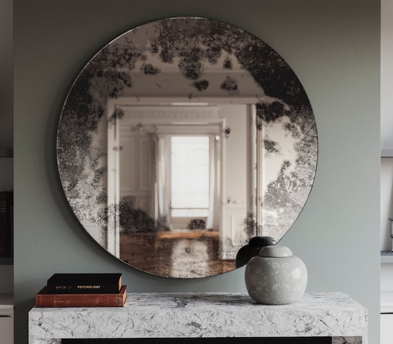 Wonderful 33 Antique Mirror with cloudy Pattern. Custom hand made CG51