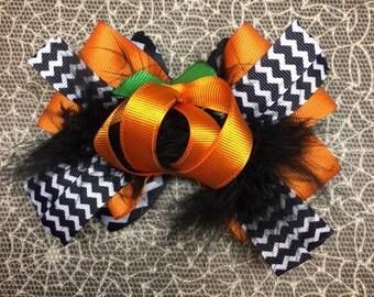 Pumpkin Halloween Bow
