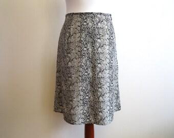 Black Grey White Snake Print A Line Skirt High Waisted Medium Size Skirt