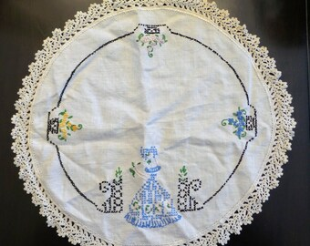 Round Handmade Doily with Lady and Flowers