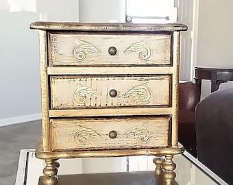 Italian Florentine Jewelry Box, Gold Jewelry Box, Large Wood Jewelry Box, Vintage Jewelry Box