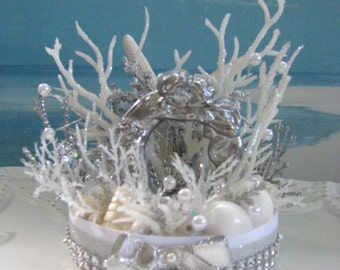 Mermaid Merman Starfish Wedding Cake Topper-Beach Wedding Cake Topper-Seashell Wedding Cake Topper