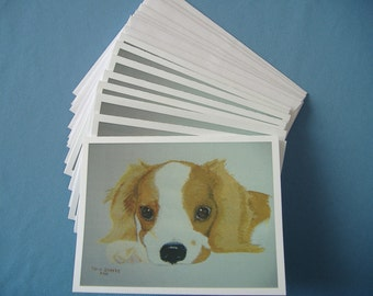 Note cards - Original acylic painting prints - Lovabole Puppy - 4 1/4 x 5 1/2 inches