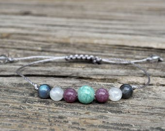 Guardian Angel Bracelet III, Amazonite Bracelet, Lepidiolite, Moonstone, Labradorite, Crystal Healing Bracelet, Yoga Bracelet, Meditation