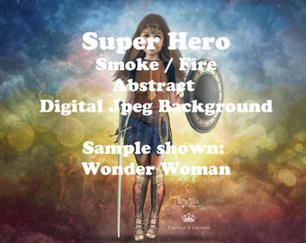 Super Hero Digital Background Superhero Digital Backdrop jpeg file Wonder Woman or Captain America inspired