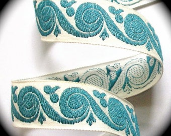 "Vintage Woven Ribbon -  1 "" x 5 yds  Natural and Copen Blue  Swirl -"