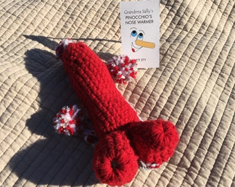"""05 ~ """"Pinocchio's Nose Warmer"""" NC State (Red & White)"""