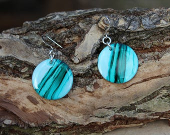Aqua and Teal Striped Hand Painted Earrings