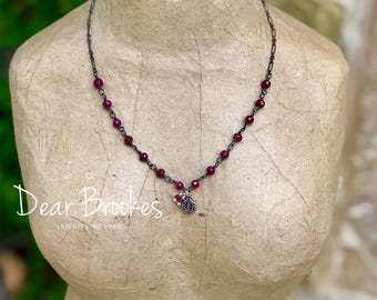 Ruby Necklace, July Birthday, Birthstone necklace, Virgin Mary