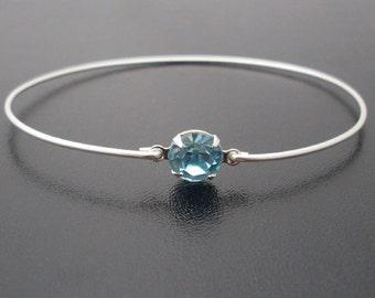 Light Blue Bangle Bracelet, Liana - Silver, Light Blue Rhinestone Bracelet, Blue Rhinestone Jewelry, Light Blue Bracelet, Light Blue Jewelry