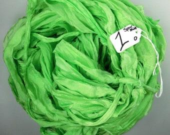 Sari silk Ribbon, Recycled Silk Chiffon, Sari Ribbon, Spearmint green ribbon, tassel supply, knitting supply, weaving supply, crochet supply