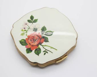 Square Vintage Brass Tone Rose Pattern Mirror Powder Compact by Melissa