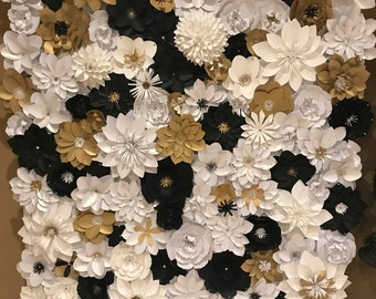 White & Gold Paper Flower Backdrop Wall