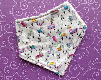 Cotton or bamboo bandana dribble bib (choose backing fabric) - llama party
